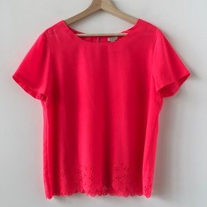 J Crew hot pink t shirt with cut out details